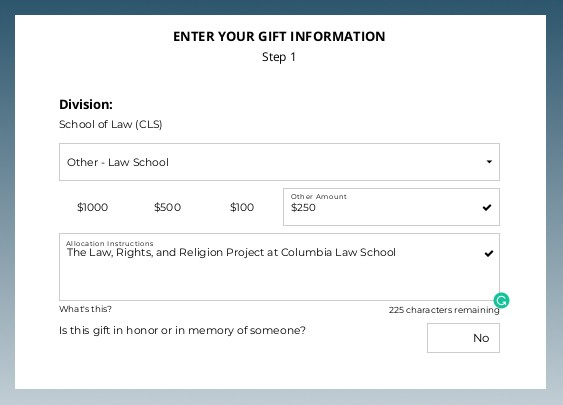 A screen-shot showing how to allocate a gift to the Law, Rights, and Religion Project using the Columbia Law School giving portal