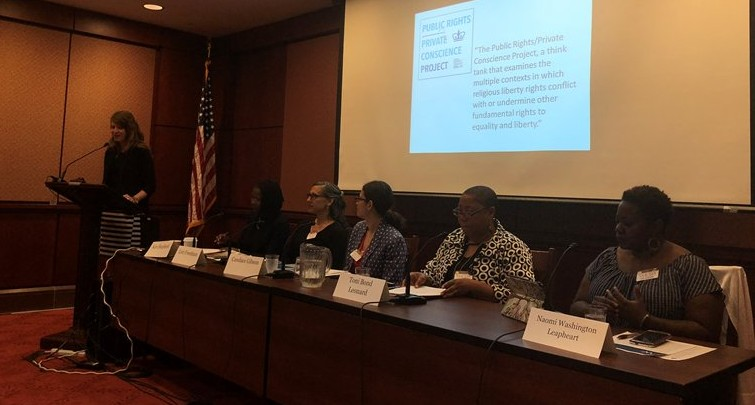 A photograph of panelists from the Racial Justice Program's Congressional Briefing, hosted on May 24, 2018
